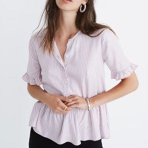 Madewell Studio Ruffle Hem Top in Lavender Stripe